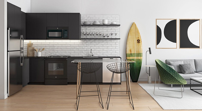 Cool black cabinetry and crisp subway tile